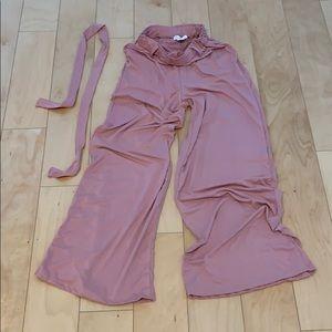 High rise-elastic self tie waist-wide leg pants